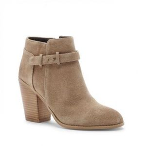 Olive sole society booties.